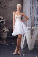 Chic Short Graduation Dress White Strapless Cocktail Party Dress