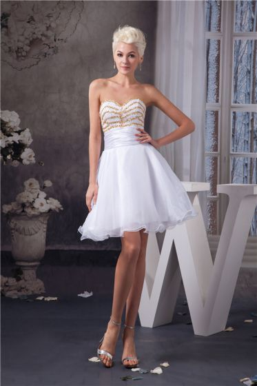 Chic Short Graduation Dress White Strapless Cocktail Party Dress