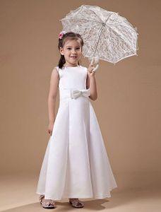 Blanc Romantique Satin Robe Ceremonie Fille Robe Fille Mariage