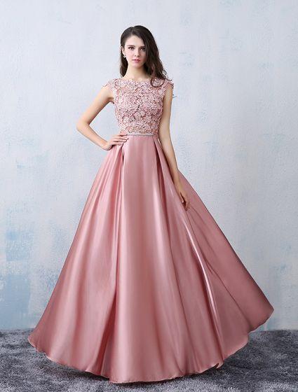 Robes De Soirée Belles 2016 Encolure Carrée Applique Dentelle Rose Satin Robe De Cérémonie Avec Noeud
