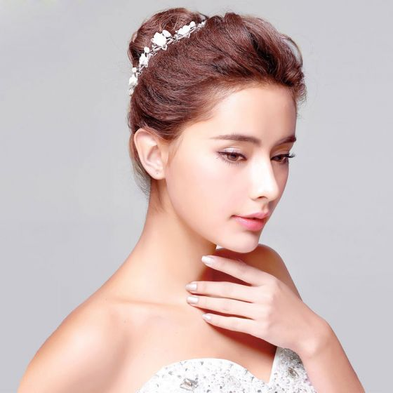 Hvid Mode Perle Rhinestone Brude Headpieces / Hoved Blomst / Bryllup Hårpynt / Bryllup Smykker