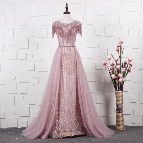 High-end See-through Candy Pink Evening Dresses  2020 A-Line / Princess Scoop Neck Cap Sleeves Rhinestone Beading Tassel Sash Sweep Train Ruffle Formal Dresses