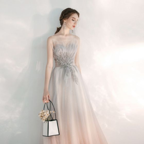 Elegant Grey Gradient-Color Pearl Pink Evening Dresses  2020 A-Line / Princess Sweetheart Sleeveless Appliques Lace Glitter Tulle Beading Floor-Length / Long Ruffle Backless Formal Dresses