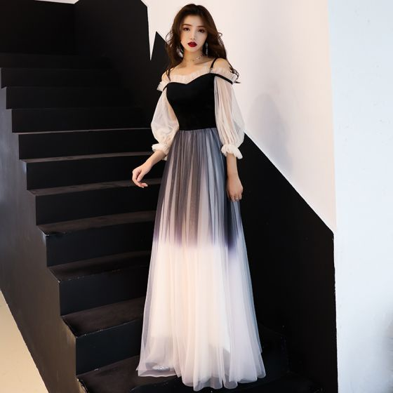 Modern / Fashion Gradient-Color Black Evening Dresses  2019 A-Line / Princess Spaghetti Straps Pleated 3/4 Sleeve Backless Floor-Length / Long Formal Dresses