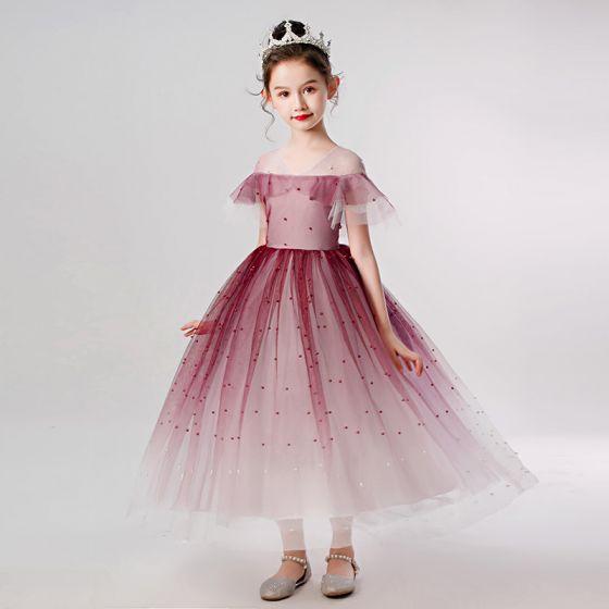 Elegantes Borgoña Cumpleaños Vestidos para niñas 2020 Ball Gown Transparentes V-Cuello Manga Corta Rebordear Perla La altura del tobillo Ruffle