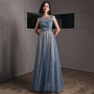 Chic / Beautiful Ocean Blue See-through Evening Dresses  2020 A-Line / Princess Scoop Neck Sleeveless Beading Glitter Tulle Floor-Length / Long Ruffle Backless Formal Dresses