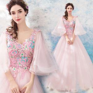 Fée Des Fleurs Rougissant Rose Robe De Bal 2019 Princesse V-Cou 3/4 Manches Appliques En Dentelle Longue Volants Dos Nu Robe De Ceremonie