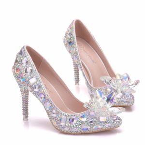 Uroczy Multi-Kolory Kopciuszek Kryształ Buty Ślubne 2019 Rhinestone 9 cm Szpilki Szpiczaste Ślub Czółenka