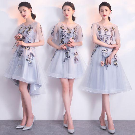Elegant Grey Bridesmaid Dresses 2018 A-Line / Princess Scoop Neck Short Sleeve Appliques Lace Flower Ruffle Backless Wedding Party Dresses