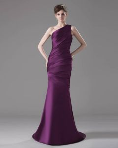 Trumpet One Shulder Floor Length Satin Ruffles Prom Dresses