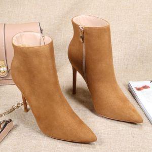 Schöne Tan Strassenmode Wildleder Stiefel Damen 2020 10 cm Stilettos Spitzschuh Stiefel