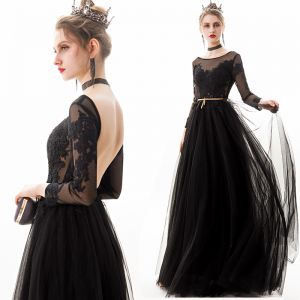 Affordable Black Backless See-through Evening Dresses  2019 A-Line / Princess Scoop Neck Long Sleeve Appliques Lace Rhinestone Sash Floor-Length / Long Ruffle Formal Dresses