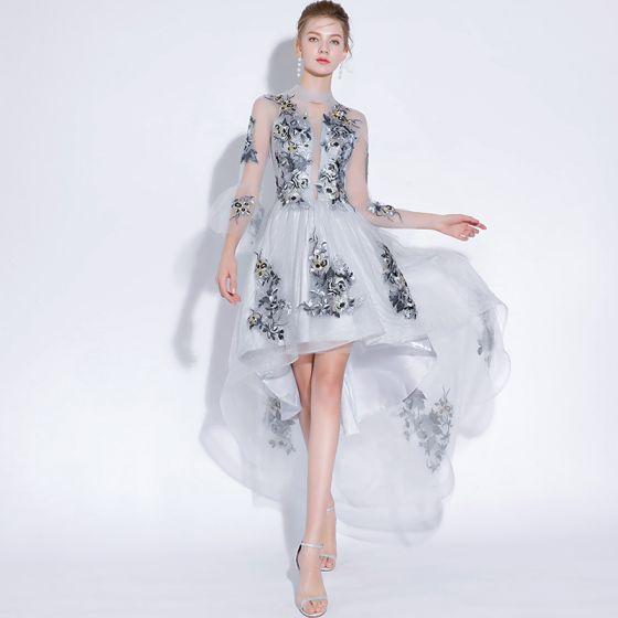 cc6e0d8d Sexy Gris Vestidos de noche 2018 A-Line / Princess Con Encaje Apliques  Scoop Escote 3/4 Ærmer Cortos ...