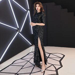 Bling Bling Black Evening Dresses  2019 Trumpet / Mermaid Scoop Neck 1/2 Sleeves Glitter Sequins Split Front Floor-Length / Long Ruffle Formal Dresses