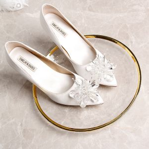 Modern / Fashion White Wedding Shoes 2019 9 cm Beading Leather Crystal Pointed Toe Wedding High Heels Womens Shoes