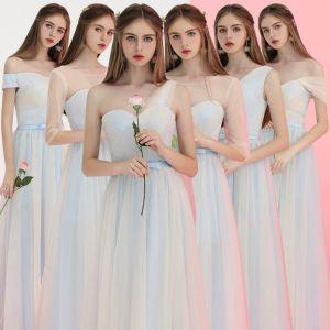 Erschwinglich Himmelblau Brautjungfernkleider 2018 A Linie Schleife Stoffgürtel Lange Rüschen Rückenfreies Kleider Für Hochzeit