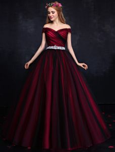 Elegant Prom Dress 2016 Off The Shoulder Backless Burgundy Formal Gown With Sequins Rhinestone