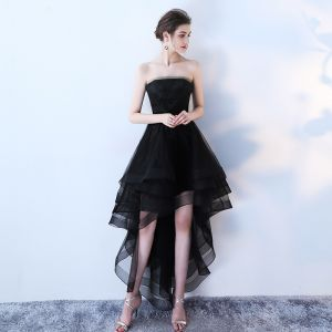 Charming Black Cocktail Dresses 2019 A-Line / Princess Strapless Lace Flower Sleeveless Backless Asymmetrical Formal Dresses