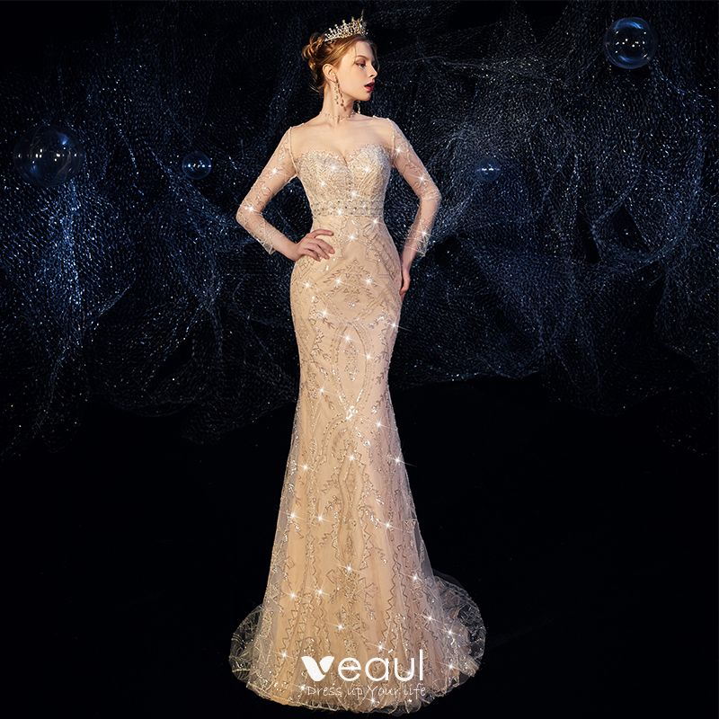 Detachable Cathedral Train Wedding Gown: High-end Champagne Wedding Dresses 2019 Trumpet / Mermaid