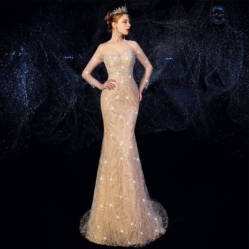 High-end Champagne Wedding Dresses 2019 Trumpet / Mermaid Scoop Neck Beading Rhinestone Sequins Lace Flower Long Sleeve Backless Detachable Chapel Train