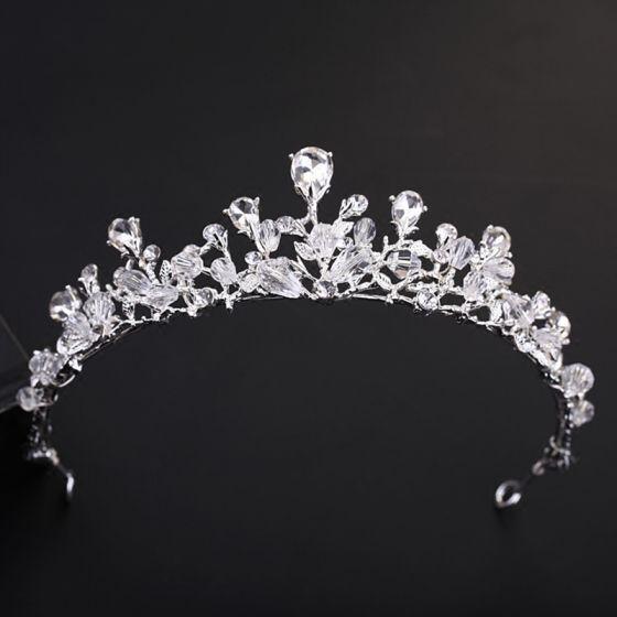 Schlicht Silber Diadem 2018 Metall Kristall Strass Hochzeit