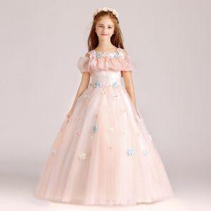 Hermoso Perla Rosada Vestidos para niñas 2017 Ball Gown Escote Cuadrado Sin Tirantes Manga Corta Apliques Flor Largos Ruffle Vestidos para bodas