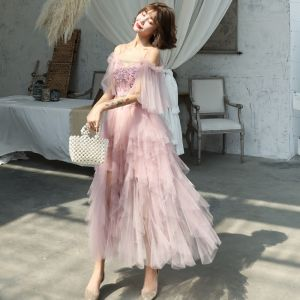 Affordable Blushing Pink Summer Prom Dresses 2019 A-Line / Princess Spaghetti Straps Short Sleeve Appliques Flower Beading Ankle Length Cascading Ruffles Backless Formal Dresses