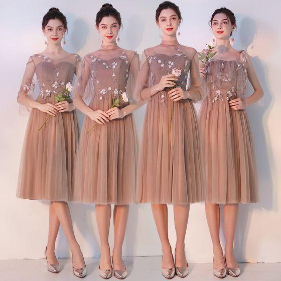 Elegante Khaki Durchsichtige Brautjungfernkleider 2019 A Linie Applikationen Spitze Wadenlang Rüschen Rückenfreies Kleider Für Hochzeit