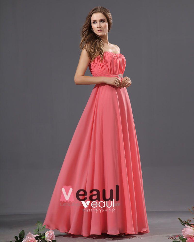 Graceful Strapless Ruffles Chiffon Floor Length Bridesmaid Dresses