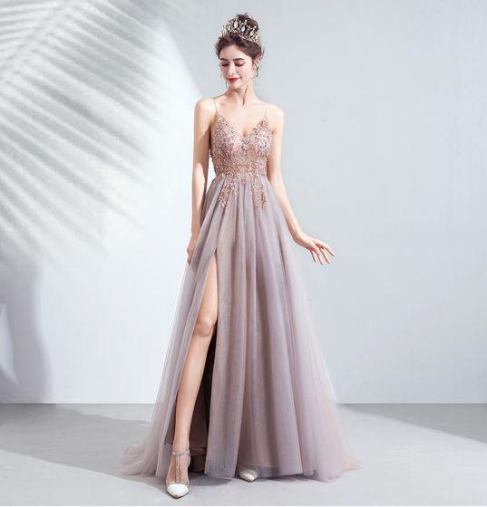 Charming Blushing Pink Evening Dresses  2020 A-Line / Princess Spaghetti Straps Beading Rhinestone Sequins Sleeveless Backless Split Front Floor-Length / Long Formal Dresses