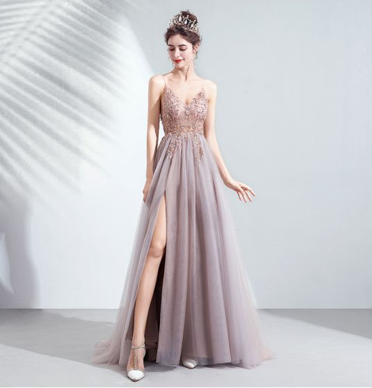 Charming Blushing Pink Prom Dresses Evening Dresses  2020 A-Line / Princess Spaghetti Straps Beading Rhinestone Sequins Sleeveless Backless Split Front Floor-Length / Long Formal Dresses