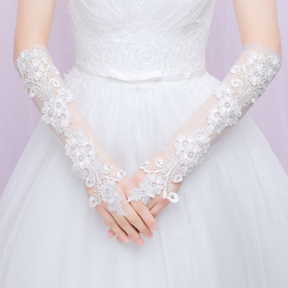 Chic / Beautiful Ivory Wedding 2018 Tulle Lace-up Flower Appliques Bridal Jewelry