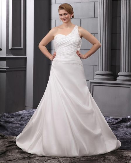 Satin One Shoulder Ruffle Chapel Plus Size Bridal Gown Wedding Dresses