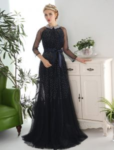 Vintage Evening Dresses 2016 Sequins Neck Beading Rhinestones Navy Blue Tulle With Bow-strap Sash