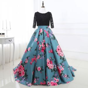 Chic / Beautiful Jade Green Prom Dresses 2018 A-Line / Princess Printing Lace Scoop Neck Backless 3/4 Sleeve Court Train Formal Dresses