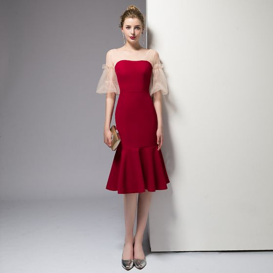 Chic / Beautiful Red Homecoming Graduation Dresses 2020 Trumpet / Mermaid Short Sleeve V-Neck Backless Knee-Length Formal Dresses