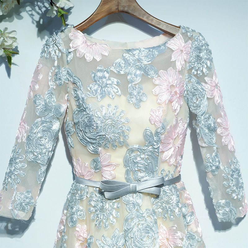 Chic / Beautiful Wedding Party Dresses Bridesmaid Dresses 2017 Multi-Colors Lace Backless Bow Scoop Neck 3/4 Sleeve Tea-length A-Line / Princess