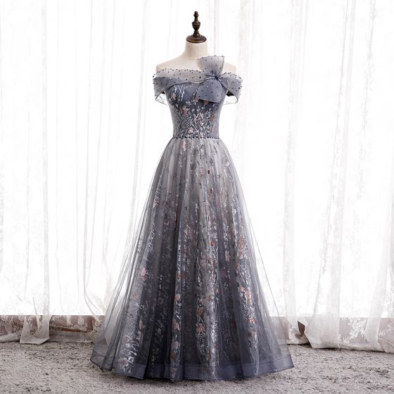 Chic / Beautiful Navy Blue Dancing Prom Dresses 2020 A-Line / Princess Off-The-Shoulder Short Sleeve Beading Rhinestone Appliques Glitter Tulle Floor-Length / Long Ruffle Backless Formal Dresses