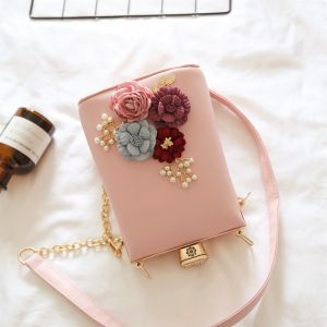 Lovely Romantic Blushing Pink Clutch Bags Beading Flower Pearl Cocktail Party Evening Party Accessories 2019