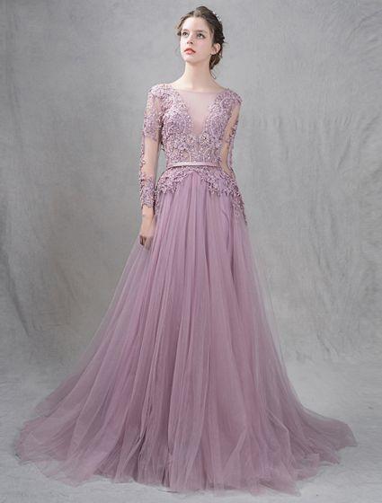 Eleganckie Sukienki Wieczorowe 2016 A-linia Głęboki Dekolt Aplikacja Symetryczne Koronki Wzburzyć Tiulowa Sukienka Bez Pleców