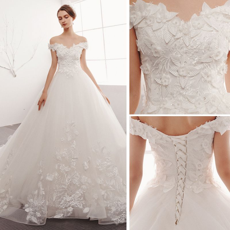 Charming Ivory Wedding Dresses 2019 A-Line / Princess Off-The-Shoulder Lace Flower Pearl Appliques Sleeveless Backless Cathedral Train