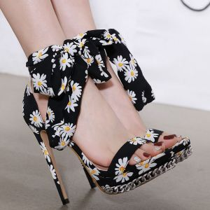 Fashion Black Prom Floral Womens Sandals 2020 Ankle Strap 14 cm Stiletto Heels Open / Peep Toe Sandals