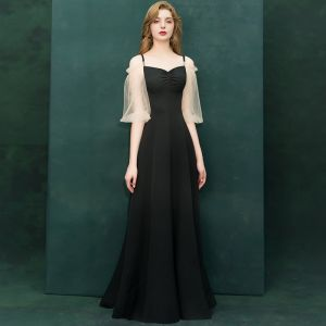 Affordable Black Evening Dresses  2019 A-Line / Princess Off-The-Shoulder Spaghetti Straps Puffy 1/2 Sleeves Floor-Length / Long Ruffle Backless Formal Dresses
