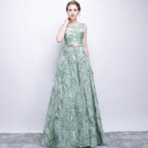 Chic / Belle Vert Cendré Robe De Soirée 2017 Princesse Métal Ceinture Encolure Dégagée Longue Robe De Ceremonie