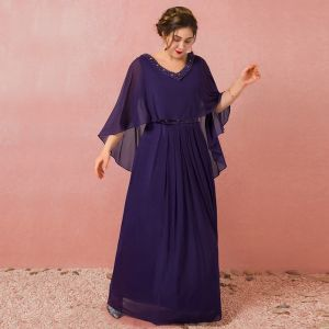 Amazing / Unique Purple Plus Size Evening Dresses  2018 A-Line / Princess With Shawl Chiffon V-Neck Backless Beading Rhinestone Evening Party Formal Dresses