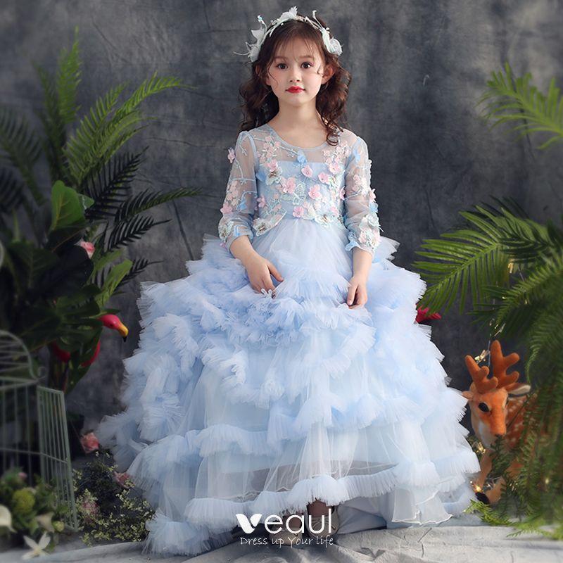 7d61a2c2d Elegantes Azul Cielo Vestidos de gala 2019 A-Line   Princess Scoop Escote  3 4 Ærmer Apliques Con Encaje Rhinestone Colas De Barrido Volantes En  Cascada ...