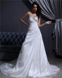 Alskling Golv Langd Beading Veckade Taft Katedralen Tag A-line Brudklänningar Bröllopsklänningar
