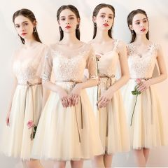 Chic / Beautiful Champagne See-through Bridesmaid Dresses 2019 A-Line / Princess Sash Appliques Lace Knee-Length Ruffle Backless Wedding Party Dresses