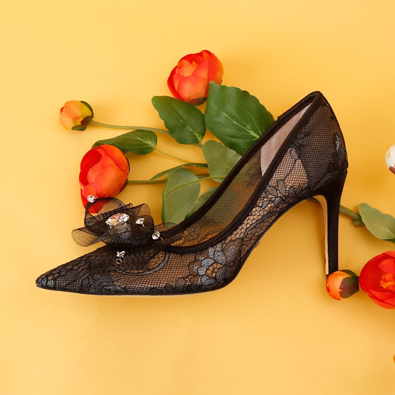Charming Black Evening Party Pumps 2019 Lace Rhinestone 9 cm Stiletto Heels Pointed Toe Pumps
