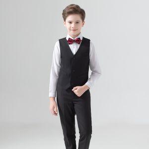 Modest / Simple Burgundy Tie Black Boys Wedding Suits 2020